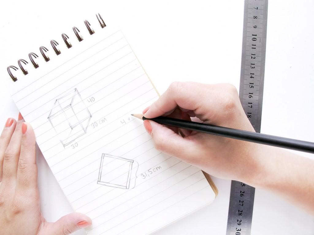 skitse og tegning til udstillingsmontre