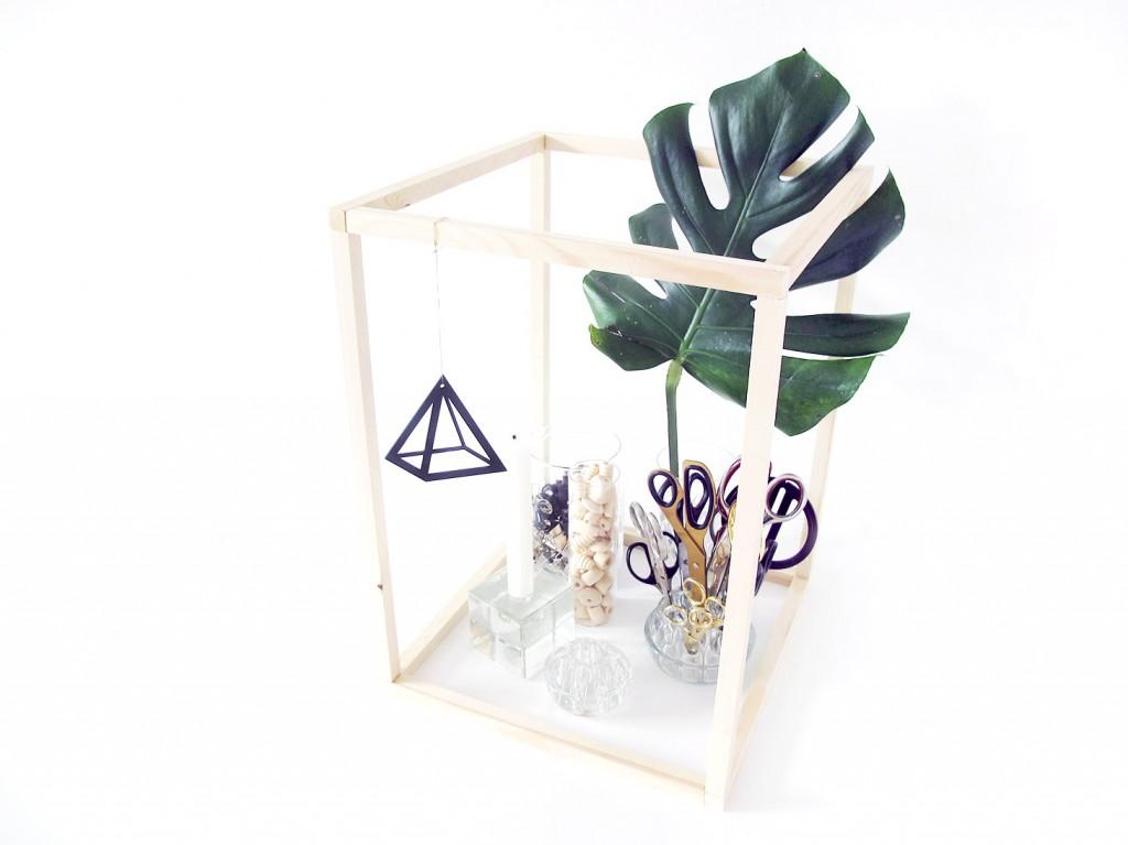 xl-byg diy wood frame med monstera og glas