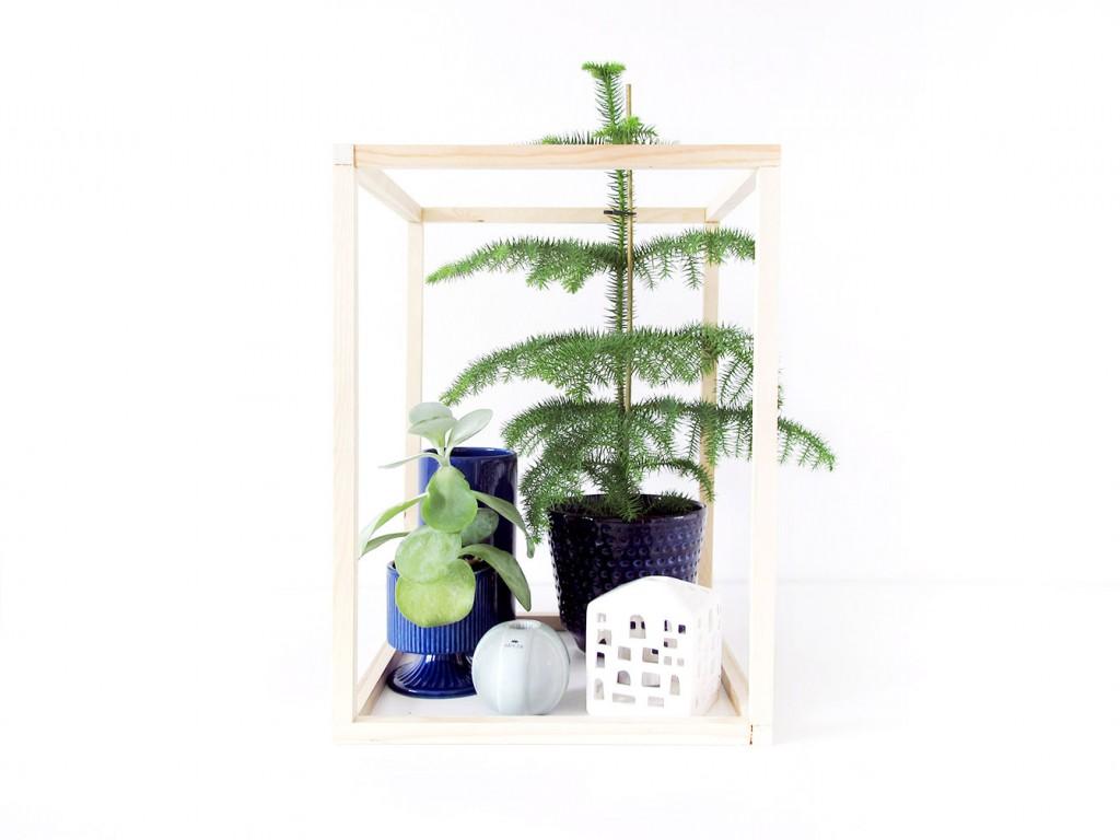 brug diy træ kuben til udstilling af planter og keramik