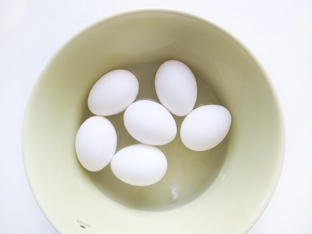 æg i kahler skål med kogende vand