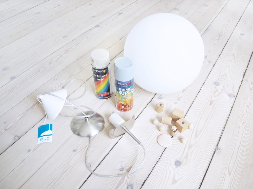 materialer til redesign af lampe