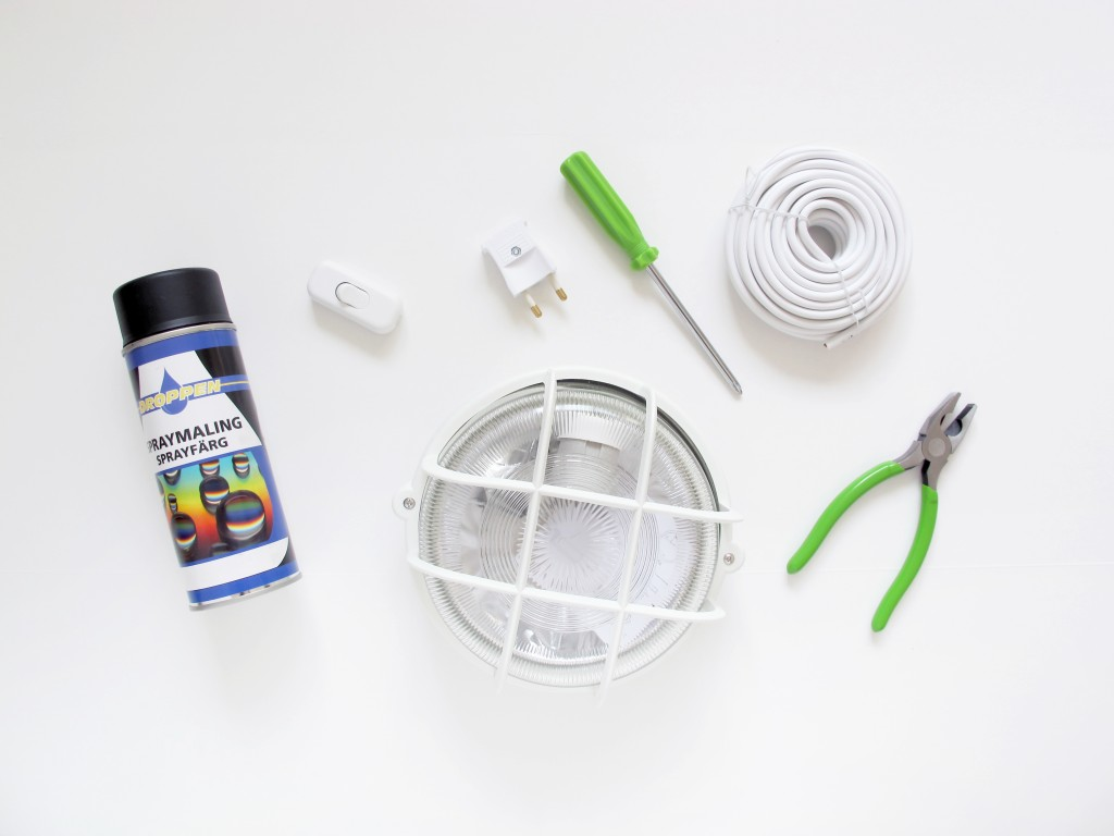 materialer til redesign af væglampe