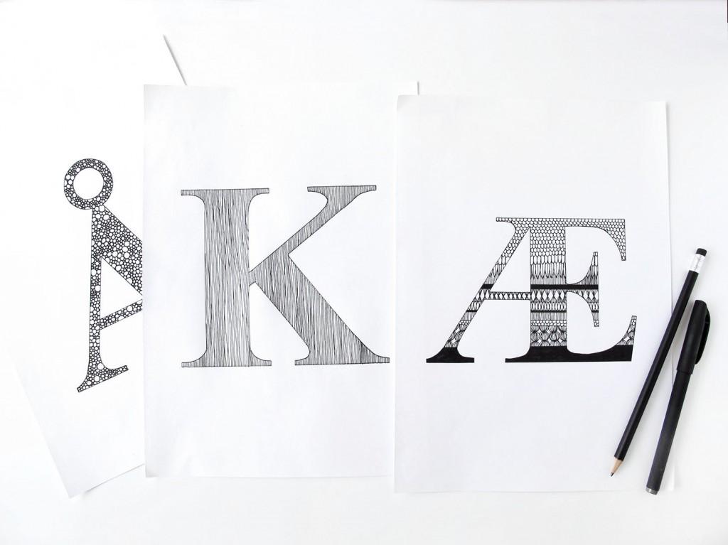 de forskellige færdigtegnede bogstaver