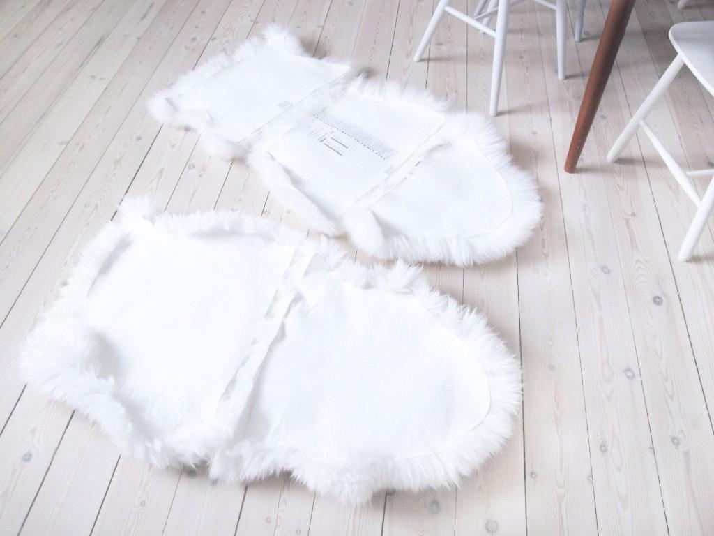 fåreskind skåret op til stole hynder