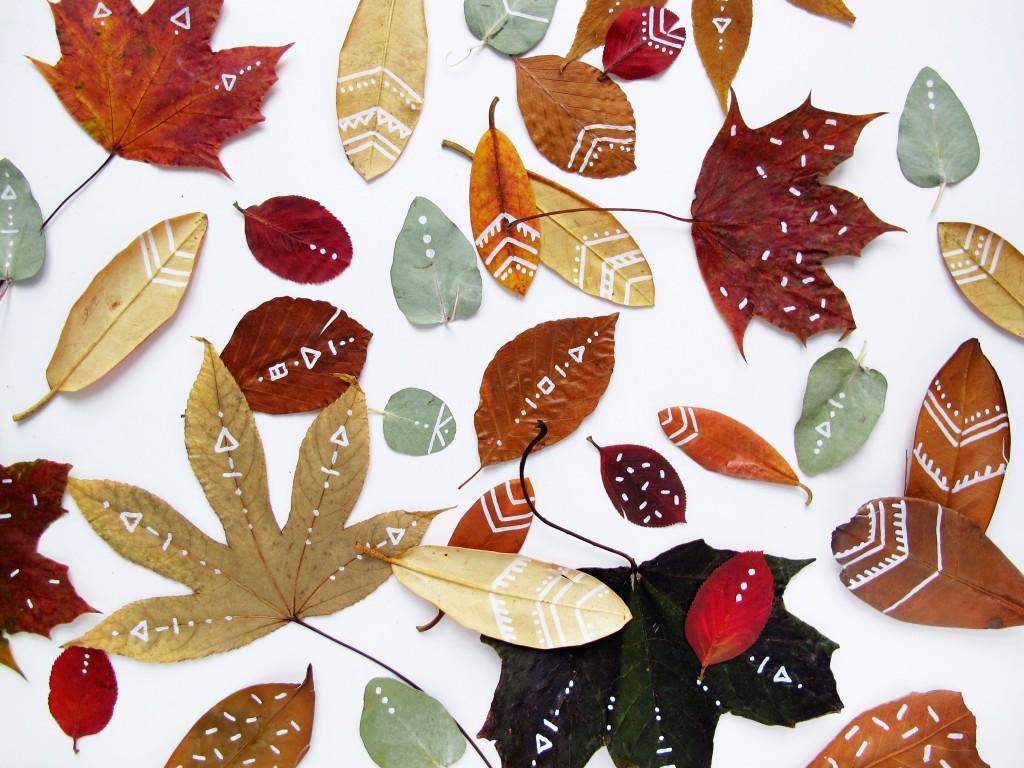 efterårs blade til dekoration og pynt i boligindretningen