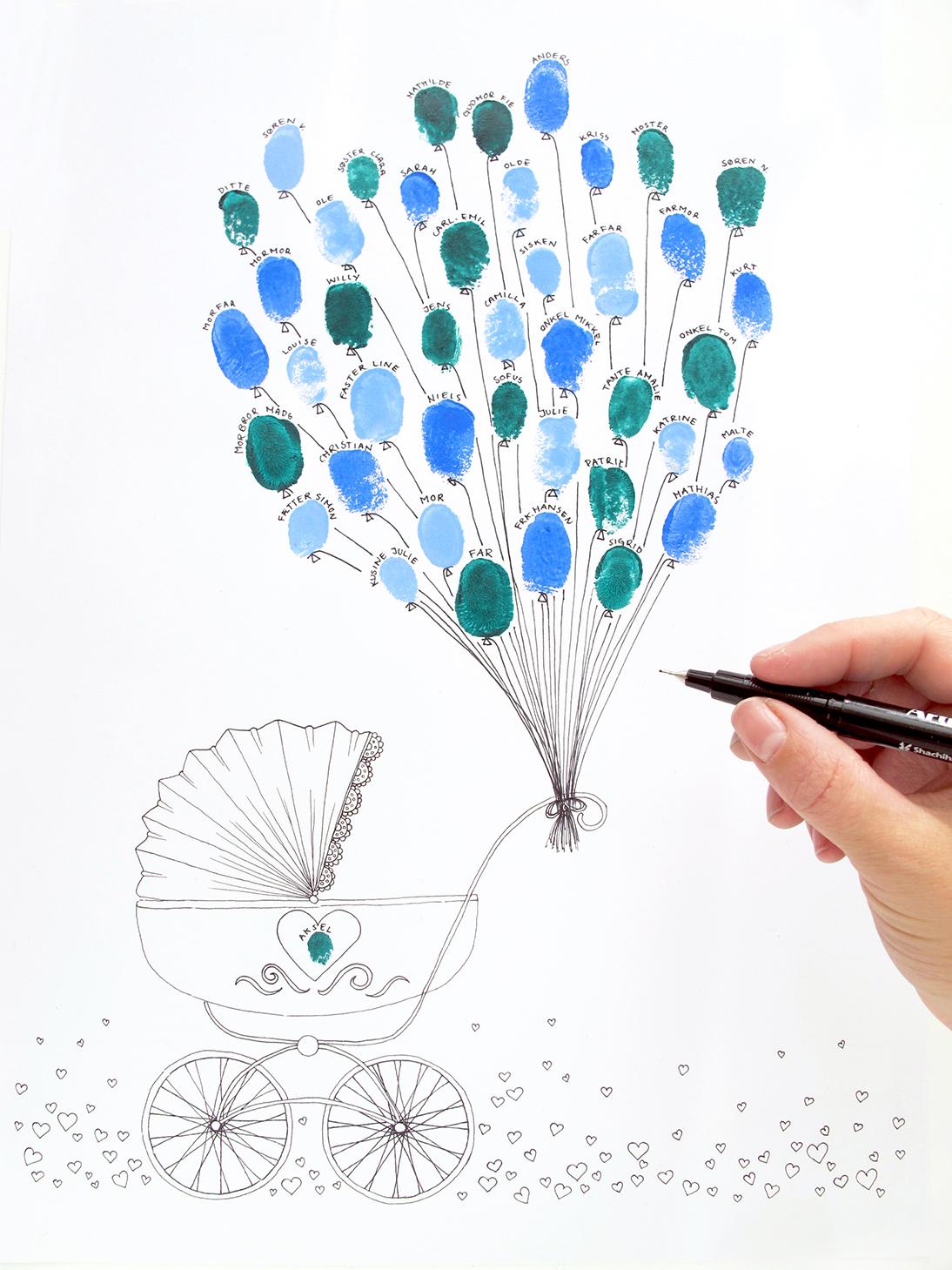 barnevogns illustration til fingeraftryk