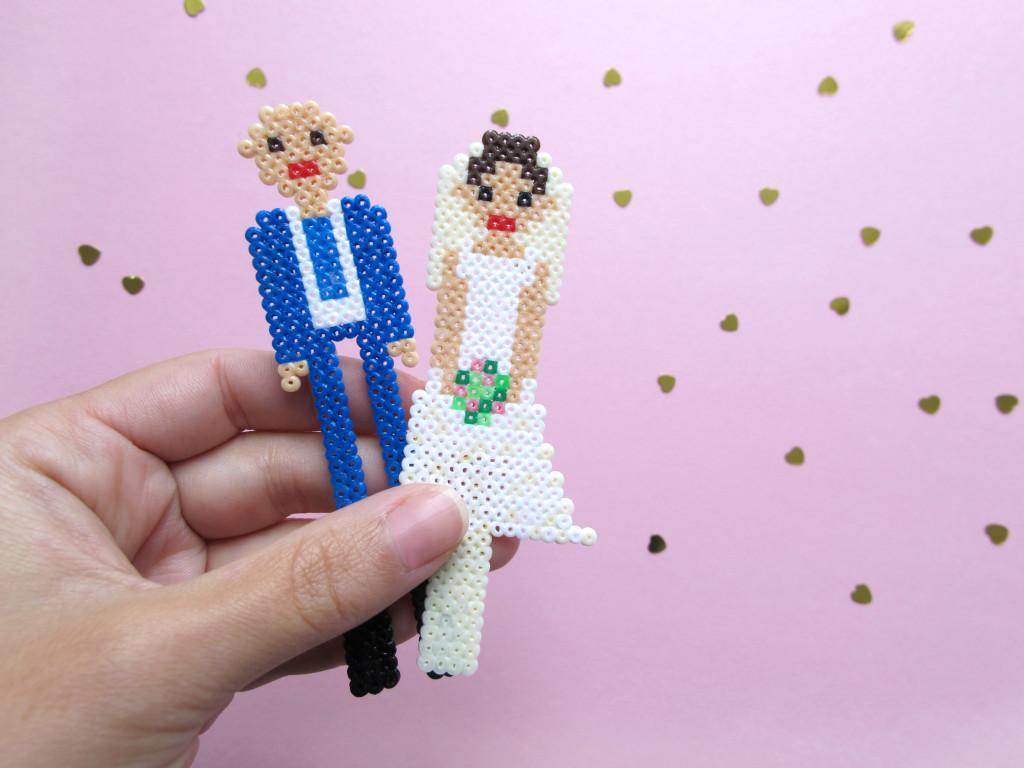 brudepar bryllup figur hama perler